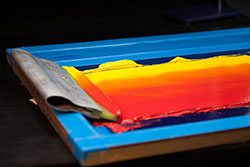 Red and yellow paint for t shirt printing at CrackerJack Shack